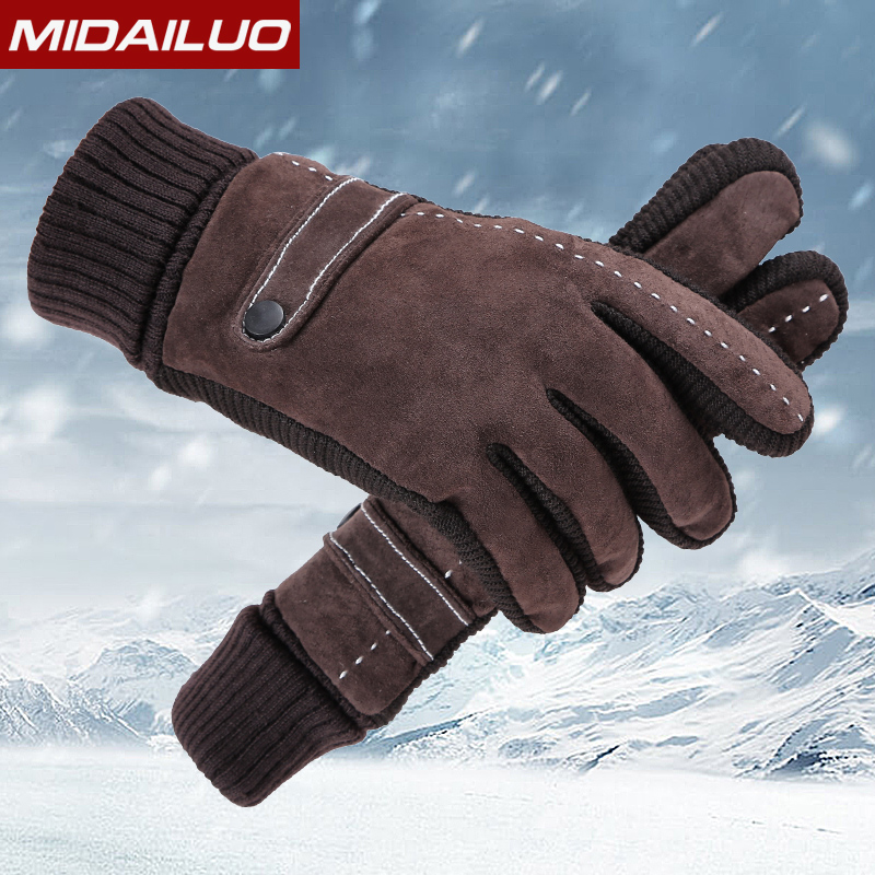 Gloves Mens Winter Ride Motorcycles Leather Gloves Winter Warmer Bugs Student Korean Edition Outdoor Gloves<br>