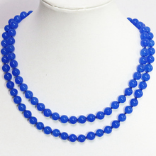 High grade blue semi-precious natural stone jades chalcedony long chain necklace 8,10,12mm round bead jewelry 36inch B1485