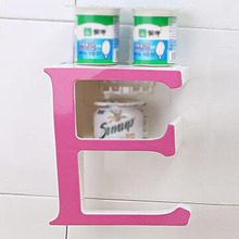 1x Letter E Plastic Bathroom Shelf Storage Rack for Kitchen Bathroom Space Saving Pink(China)