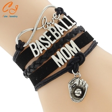Infinity Love BASEBALL MOM Team sports Bracelet Customize Wristband friendship Bracelets
