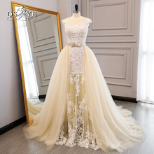 2018 New Champagne Wedding Dresses Lace Bridal Dress Detachable Train Elegant Illusion Neck Applique Tulle Bridal Gown