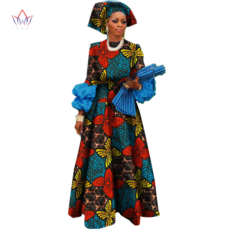 2019 New African Dresses for Women Bazin Riche Wax Print Plus Size African Clothing Dashiki Lantern Sleeve Long Dress WY1144