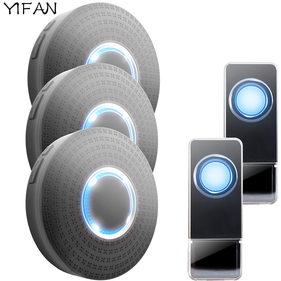 YIFAN Waterproof Wireless Doorbell EU Plug 300M Remote smart Door Bell Chime ring call 2 button 3 receiver no battery 110V-220V<br>