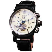 Casual Leisure Sport Men's Mechanical Wrist Watch Leather Strap Tourbillon Calendar Display Luminous Night Light Big Crown