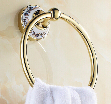 New Arrivals Luxury Brass Gold Towel Ring with Ceramic Base Towel Holder, Towel Bar Bathroom Accessories<br><br>Aliexpress
