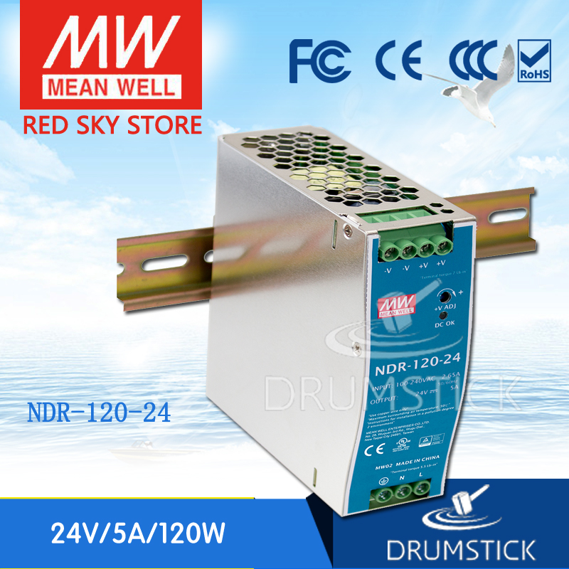 [Free shipping] MEAN WELL NDR-120-24 2Pcs 24V 5A meanwell NDR-120 24V 120W Single Output Industrial DIN Rail Power Supply<br><br>Aliexpress