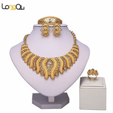 Fashion Big Necklace Tie Dubai African Gold-color Big Necklace Earrings Costume Jewelry Sets Nigerian Women Wedding Jewelry(China)