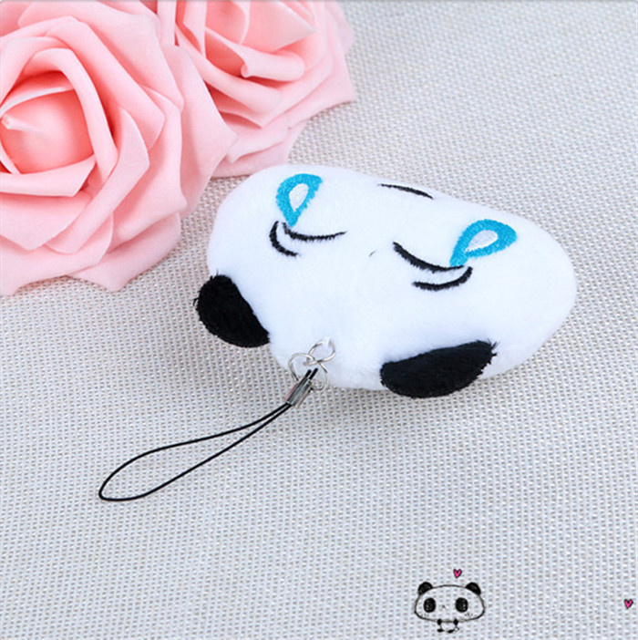 Fashion Panda Emoji Plush Toys Key Chain Ring Pom Bear Keychain Woman Bag Charms Man Car Keyring Wedding Party Trinket Jewelry (3)