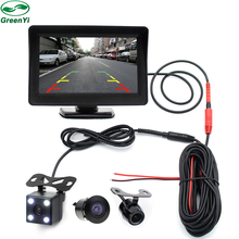 GreenYi TFT 4.3 Inch Auto Rearview Parking Monitor+4 LED Night Vision CCD Rear View Auto Parking Camera With Car Mirror Monitors