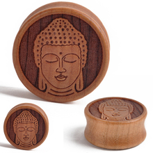 1Pair 10-28mm Ear Expander Ear Piercing Wooden Meditating Buddha Ear Plugs Tunnels Gauges Expander Body Piercing Jewelry