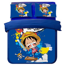 Bedding Set Japanese One Piece Anime Twin full Queen King Size Duvet Cover pillowcase Bedlinens Cartoon kids blue Bedroom Set(China)