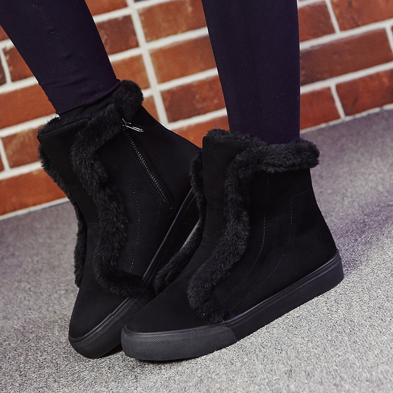 40 Big Size Fashion Velvet Padded Woman High Top 2017 Winter New Fur Female Casual Snow Shoes Warm Fur Snow Boots<br><br>Aliexpress