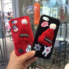 Merry Christmas red hat  hard White Skin Case for iphone 5 5s 6 6s 7 7 plus  plastic case cover phone cover case