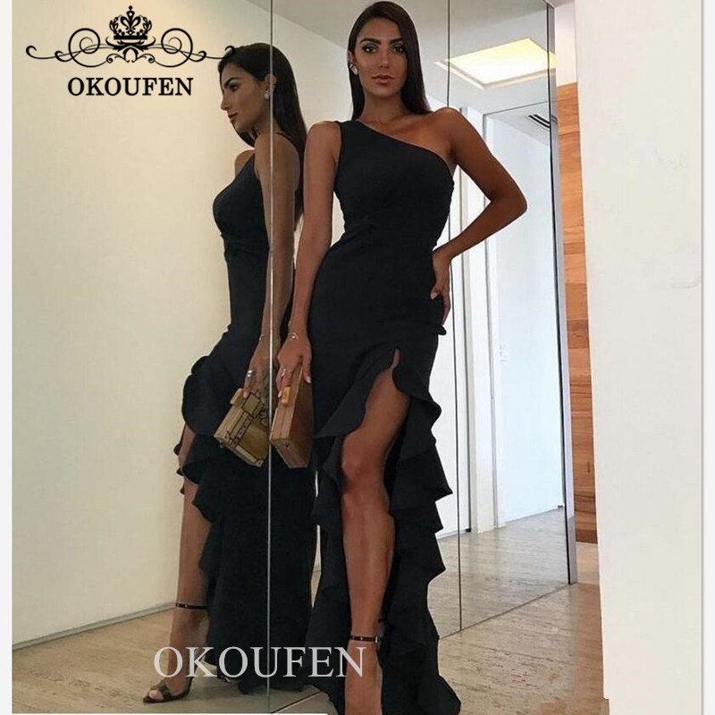 One Shoulder Prom Dresses For Women 2019 Under 100 Sexy Ruffles Side Split Long Mermaid Evening Dress Formal Gown