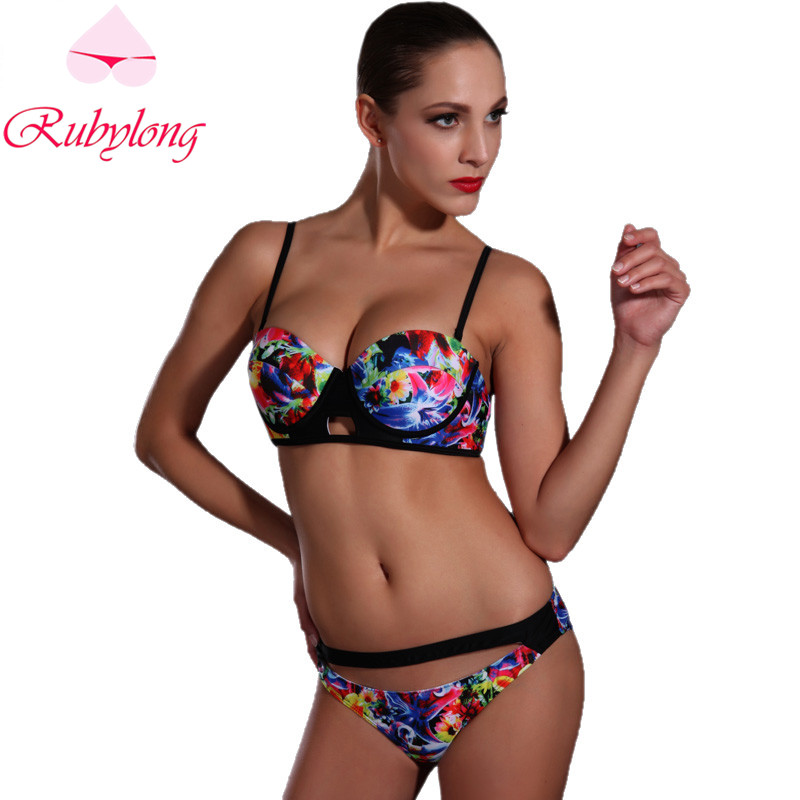 Rubylong 2017 Floral Push Up Underwire Bikini Swimwear Women Sexy Halter Padded Print Swimsuit Bikini Set Beachwear Bathing Suit<br><br>Aliexpress