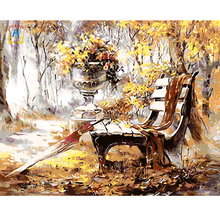 DIY Frameless Scenery Pictures Paint By Numbers Digital Oil Painting On Canvas Handwork Gift Set Of Autunm Park 40X50cm E022