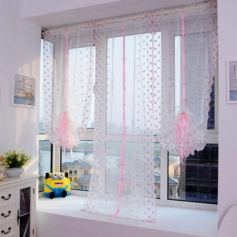 Fashion Embroidered Window Roman Curtain Blinds For Living Room/Kitchen/Bedroom/Bathroom Pink Curtain Yarn Sheer Tulle Curtains