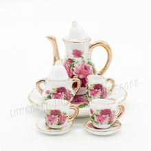 Odoria 1:6 Miniature 8PCS Porcelain Rose Tea Cup Set Ceramic Tableware Dolls' Dollhouse Kitchenware Accessories(China)