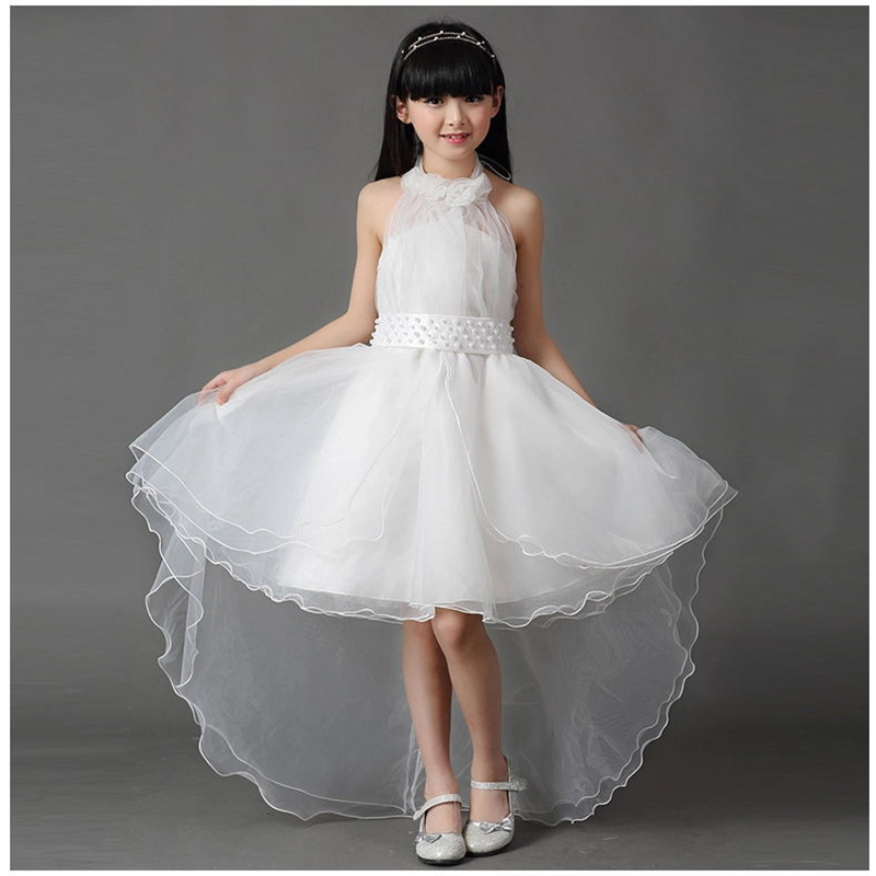 2016 Girl Advanced Wedding Dresses Floral Collar Backless Lacing Bow Children Formal Long Tail Vestidos Princess Style Dress<br><br>Aliexpress