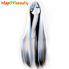 "MapofBeauty 100cm 40"" long straight Cosplay Wigs Black White Blue Muli Color Costume Heat Resistant Synthetic hair"