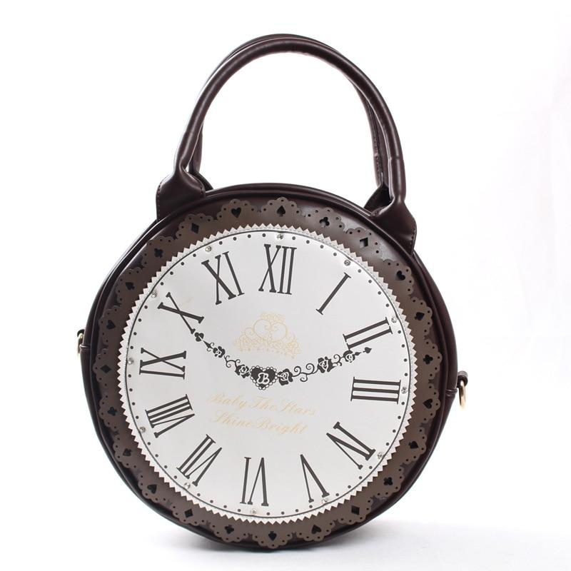 Women Lady Japan Lolita Style Alice in Wonderland Vintage School Round Clock Designer Hand Bag Messenger Bag<br>