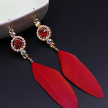 Women Feather quill Earring Dangle Drop Earring with Resin Pearl rhinestone red gold color Beach Bohemia vintage style Jewelry