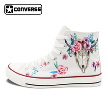 Original Hand Painted Canvas Sneakers Design Indian Style Ox Bone Head Totem Floral High Top White Converse All Star Shoes