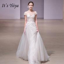 It s YiiYa Floor-length Ziiper Wedding Dresses Elegant O-neck Wedding Gown  Illusion Vestidos De Novia Casamento JS003 aa9afa118568