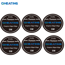 Qheating 5m/roll SS 316L Clapton Wire electronic cigarette for RDA RBA Rebuildable Atomizer Heating Wire Tool Vaporizer coils(China)
