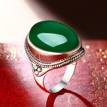 silver jewelry wholesale 925 Sterling Silver natural ice green chalcedony big ring ring manufacturers selling high-end