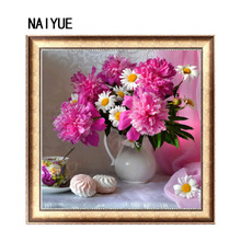 NAI YUE Home DIY 5D Diamond painting cross stitch Peony & Chrysanthemum Round Diamond Embroidery Wall Sticker Mosaic Room