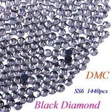 SS6 Black Diamond DMC Hotfix Rhinestone Glass Crystals Stones Hot Fix Iron-On FlatBack Rhinestones With Glue