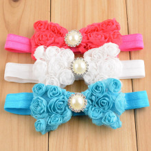 Trail Order 6pcs/lot Chiffon Rosette Bow Headband Rhinestone Center girl Flower Hair Band Hair Bows Free Shipping FD234(China)