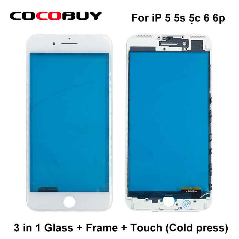 10 Pcs/Lot Free ship 3 in 1 A+ quality Front Glass with Frame with Touch Panel For Iphone 5 till 6p for replacement<br>
