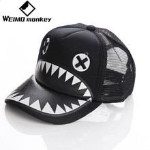 Black Fashion Shark hat animal Kids hat cap net cap Breathable Outdoor Cap Sportswear Hat Casual Cap Summer head wear sweats