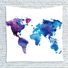 wholesale tapestry Colorful map of the world Moon Wall hanging Mural Beach towel Beach blanket decoration polyester tapestry(China)