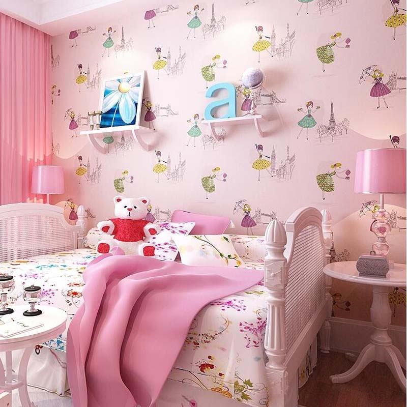 Kids Wallpaper for Walls Cartoon Non-woven Wall Paper Children Ballet Girl Princess Wallpapers Roll,papel de parede para quarto<br>