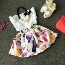 Children Girls Clothing Set Summer 2017 New Fashion Kids Girls Skirt Set White Tops tshirt + Skirt 2PCS Print Clothes Suits