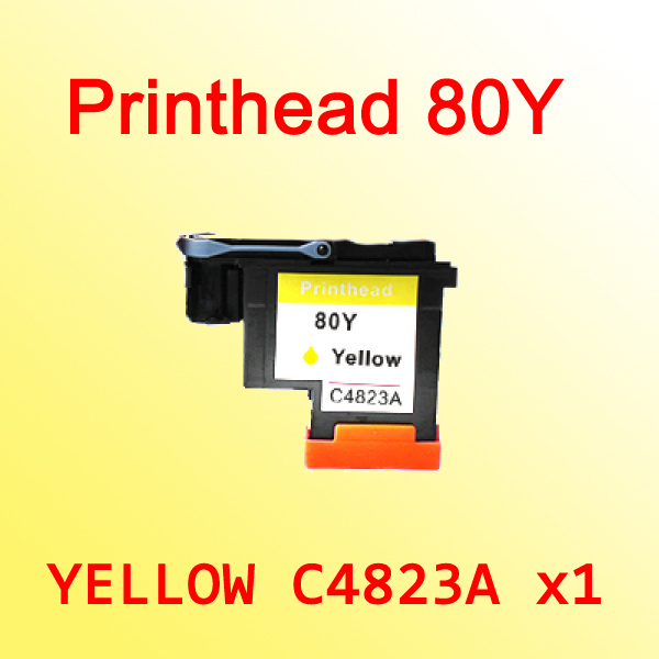1x YELLOW printhead For hp80 C4823A for hp 80 Designjet 1000 1050c 1055cm printer<br>