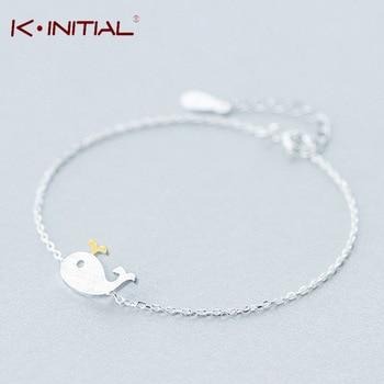 Kinitial 1Pcs 925 Sterling Silver Charm Bracelets For Women Cute Animal Killer Whale Shaped Bracelet Fashion Statement Jewelry
