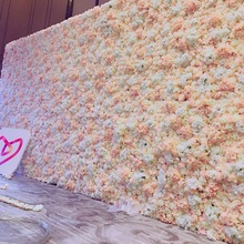 32M X 24M Champagne Rose Flower Wall Wedding Decoration