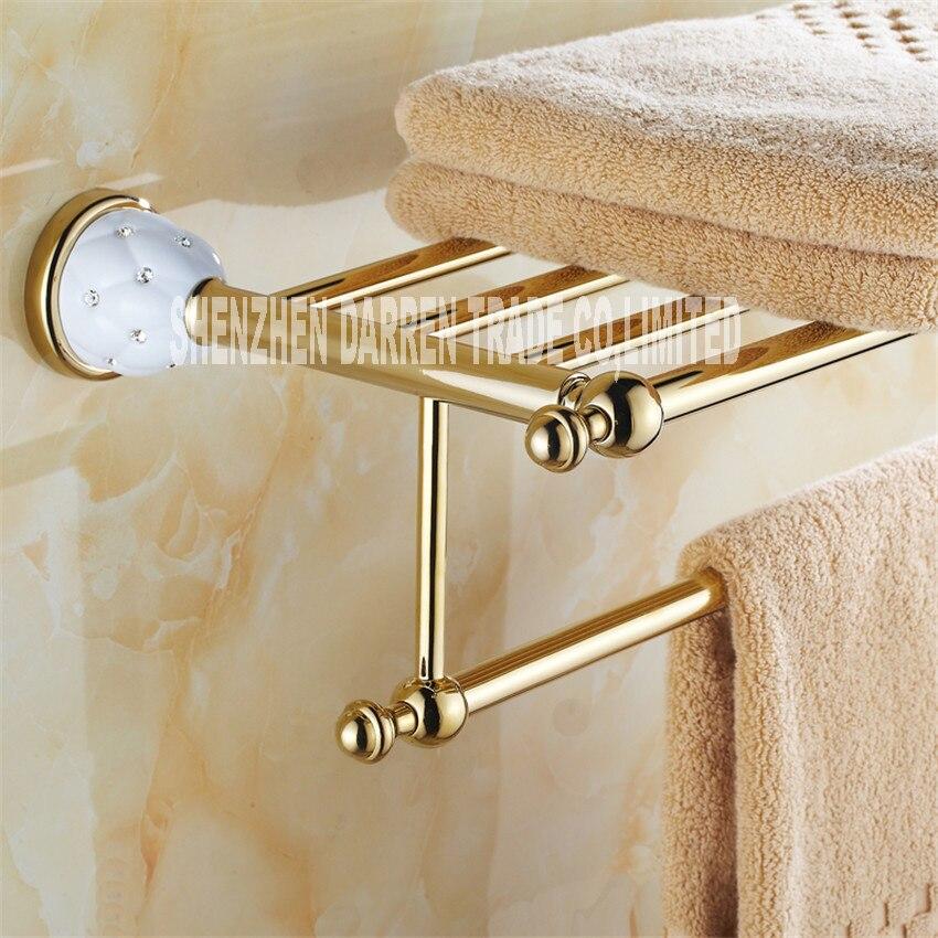 New arrival Towel Racks Luxury Bathroom Accesserries High Quality Golden Finish Bath Towel Shelves Towel Bar bath hardware Hot<br>