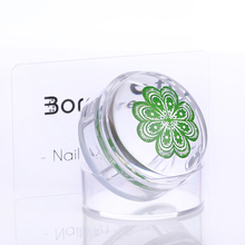 4cm XL Clear Jelly Silicone Nail Stamper Short Handle with Cap Manicure Nail Art Stamper Set & Scraper