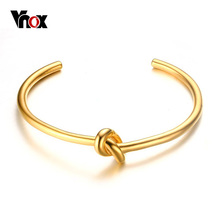 Vnox Knot Cuff Manchette Bracelet Stainless Steel Bangle Classic Women Wedding Party Workout Fashion Jewelry Gold-color 58mm