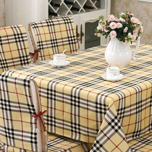 Beige plaid linen tablecloths quality thicken cotton table cover British traditional Plaid tablecloths wedding/banquet textile