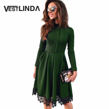 Buy VESTLINDA Autumn Dress Women Party Dresses O Neck Long Sleeve A-Line Slim Vestido De Festa Lace Spliced Sexy Dress Robe Femme for $14.99 in AliExpress store
