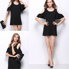 S-4XL 2017 YUIYE Brand Fashion Woman sexy O Neck Casual Loose Ruffles Tops Short Sleeve Shirt Beauty Solid color Dress Hot Sell(China)
