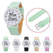 5 Colors Lovesky Women Follow Dreams Words Pattern Leather Watch Student relogio feminino Best seller Wholesale & free shipping(China)