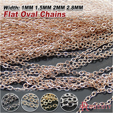 (8470)5 Meters Chain width:1MM 1.5MM 2MM 2.8MM Copper Flat Oval Shape Chains Oval Link Necklace Chain Diy Jewelry Accessories