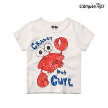 Little Boys tshirt Kids Brand Clothing Summer Baby Girls Clothes Short Sleeve t shirt Cotton Lovely Crab Printing Tee Children